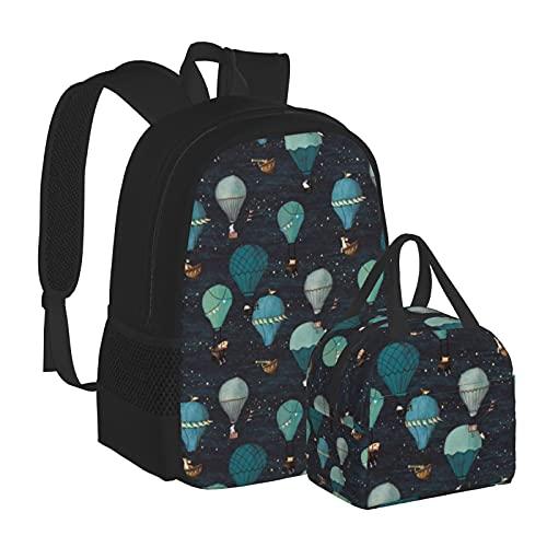 Mochila con caja de almuerzo con diseño de globo de aire caliente para la noche, ideal para adolescentes, niños, niñas, viajes, camping, juvenil, mochila