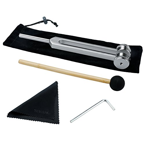SUBANG 128 CPS Tuning Fork Weight Aluminum Clinical Grade Nerve/Sensory with Silicone Hammer, Repair Tool, Cleaning Cloth and Soft Storage Bag