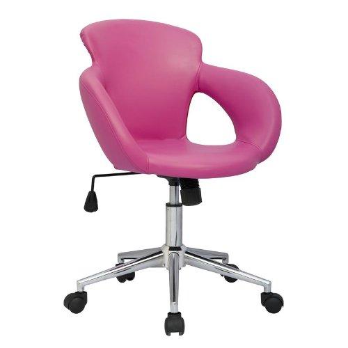SixBros. Bürostuhl Moderner Schreibtischstuhl, Stabiler Sternfuß, Drehstuhl mit Stufenloser Höhenverstellung, Kunstleder PU Pink M-65335-1/1305