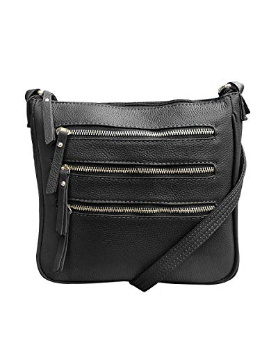 Roma Leathers Leather Locking Concealment Crossbody Purse - CCW Concealed Carry Gun Bag, Black...