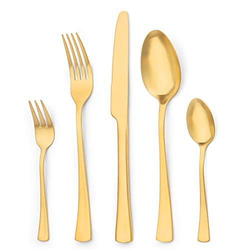 Sharecook 30 Stück Titanium Gold Plated Besteck, 30 Stück Golden Besteck Set, Gold Besteck Set Besteck Sets, Service für 6 (Matt Gold)
