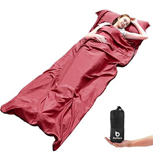 BACKTURE Saco de Dormir, Saco de Dormir Profesional con Bolsa de Compresión de Malla, Multifuncional Microfibra Aire Acondicionado edredón y sábanas, Apto para Camping y Senderismo, 220 * 90cm(Rojo)