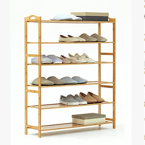 Lzcaure Zapatero de 6 niveles para zapatos de madera de bambú de entrada de almacenamiento de estante multifuncional para artículos de baño estantería de corredor sala de estar baño