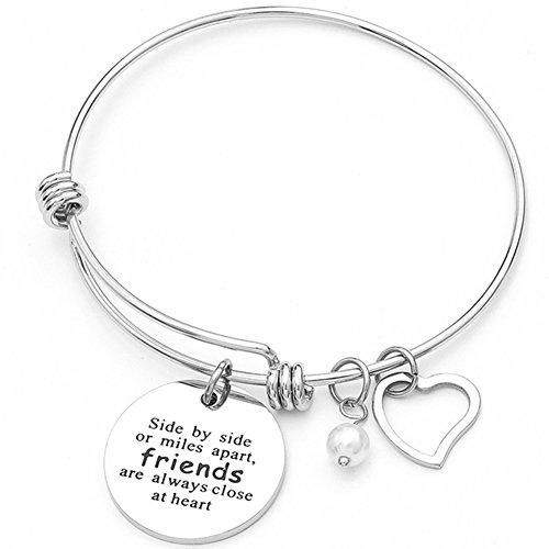Jude Jewelers Stainless Steel Adjustable Friendship Heart Bracelet, Good Friends are Always Close in Heart (Silver)