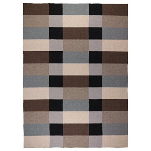 Alfombra Stockholm de tejido plano 250 x 350 cm hecha a mano/a cuadros marrón