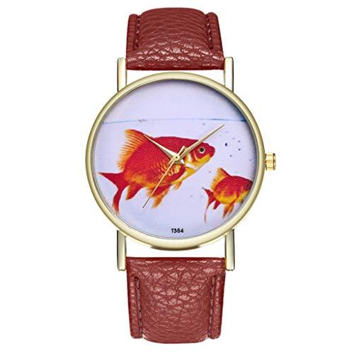 Lazzgirl Vintage Leder Damenuhr Mode Hochzeit Geburtstag Geschenk Kreative Uhr(Kaffee)