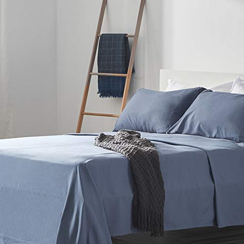 SLEEP ZONE Bed Sheet Sets Temperature Regulation Soft Wrinkle Free Fade Resistant Easy Sheets 4 PC, Flint Blue,Queen