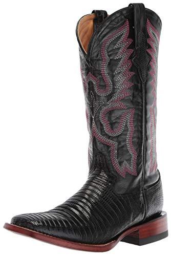 Ferrini Women's Lizard Cowgirl Boot- Wide Square Toe Black 7 M US
