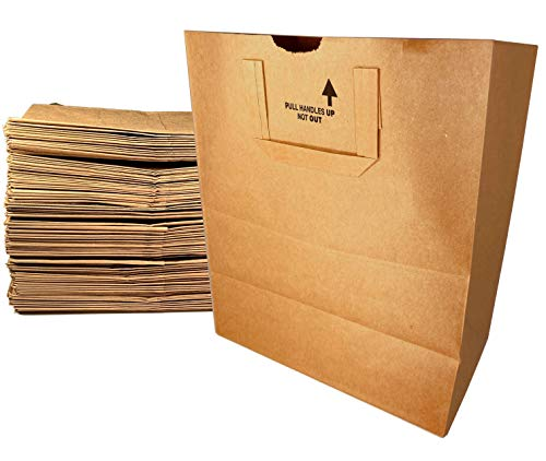 Large Paper Grocery Bags with Handles  12x7x14 Kraft Brown Heavy Duty Sack  57 Lbs Basis Weight 50