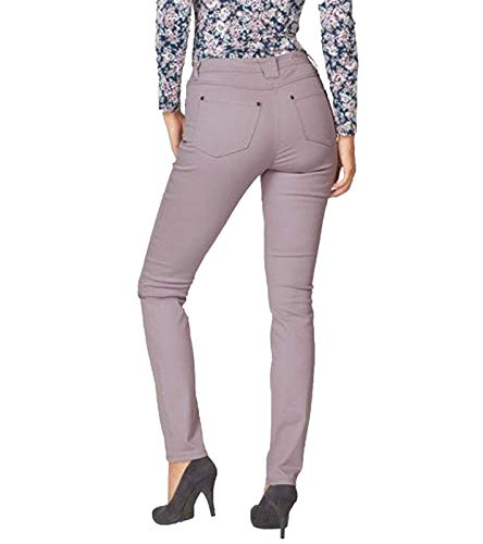Cheer Hose lässige Damen Color-Jeans mit Ziersteppung Freizeit-Hose Business-Hose Mauve, Größe:34