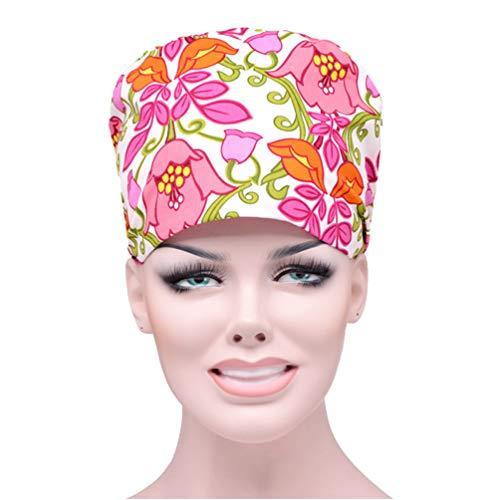 TENDYCOCO 1Pc Cappello da Lavoro Regolabile Sala Operatoria Infermiera Cappello Antipolvere Cappello da Cuoco Medico Tappo di Lavoro per Medico Infermiere Cuoco (Fiore Stampato)
