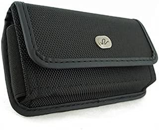 Black Rugged Canvas Phone Case Cover Protective Pouch Holster Belt Clip for Alcatel REVVL, Pop 3, OneTouch Flint Fierce XL Allura, One Touch Fierce XL, Jitterbug Smart, 4, A30 Plus
