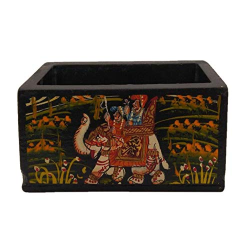 Wooden Card Holder with Beautiful Mughal Art Painting Handicraft by Awarded Indian Artisan
