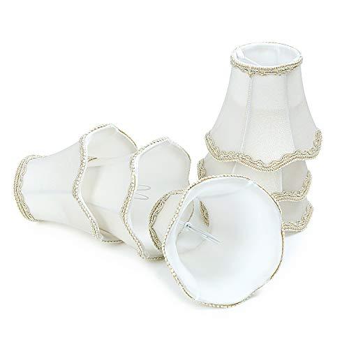 Lampenschirme 6er Set E14 E27 Kerzenbirnen für Kronleuchter Pendellampe Wandleuchte Hängelampe Lampenschirm (Weiß)