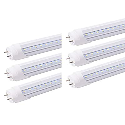 HOLDWILL 6 Pack T8 LED Tube Light Bulb, 4FT 20W 6000K, Dual-End Powered, Ballast Bypass, Clear Cover, T8 T10 T12 Fluorescent Light Bulbs Replacement with G13 Bi-pin Base