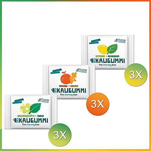 Das Kaugummi Probierset 3 Sorten je 3 Tüten mit jeweils 11 Dragees ( Holunderblüte Minze, Orange Ingwer, Zitrone Basilikum ) Bekannt aus der Höhle der Löwen