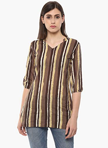 Indian Virasat Brown Colored Striped Cotton Printed Tunic