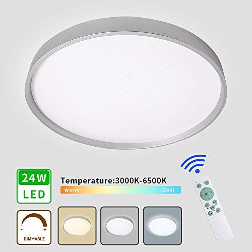 MRCOOL LED Deckenleuchte, Deckenlampe 24W Dimmbar, 3000K-6500K Deckenbeleuchtung für Küche Balkon Korridor Büro Esszimmer Bad (Silber, 24W)