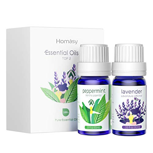 Homasy Essential Oils, Lavender and Peppermint Oils, 100% Pure & Natural Aromatherapy Oils, Therapeutic-Grade Upgraded Essential Oil Set Aroma Starter Gift Set for Baby Women Spa Relax (2 x 10ml)