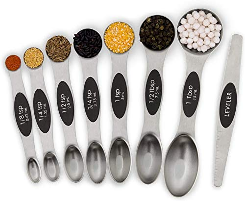 Magnetic Measuring Spoons Set-Kitchen Measuring Spoon Stainless Steel Dual Sided Stackable Teaspoon for Dry and Liquid 8Pcs(black)