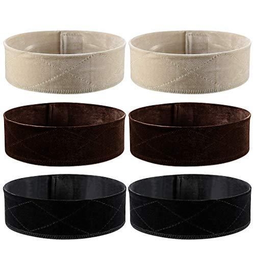 Dyeek 6 Piece Velvet Wig Grip Comfort Adjustable Wig Head Hair Band Non Slip Headband Fastern for Women and Men (Black/Brown/Beige)