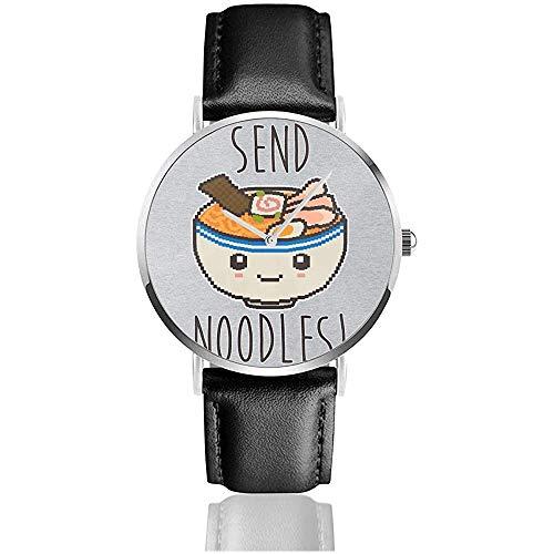 Send Noodles Watches Reloj de Cuero de Cuarzo con Correa de Cuero Negra para Regalo de colección