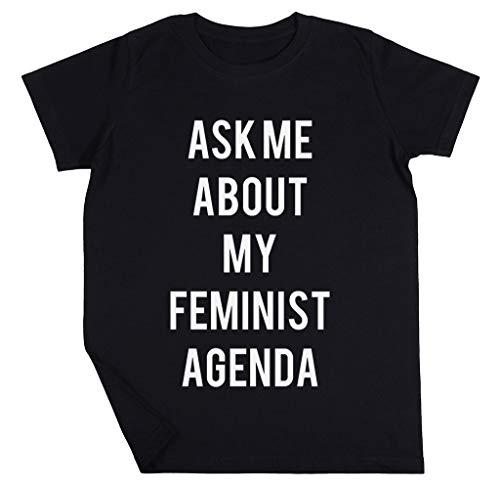Ask Me About My Feminist Agenda Niño Niña Unisexo Negro Camiseta Manga Corta Kids Black T-Shirt