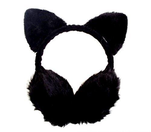 TPOS ネコ耳付きイヤーマフ ふわふわ・あったか 黒猫耳あて ネコ耳とイヤウォーマーを合体