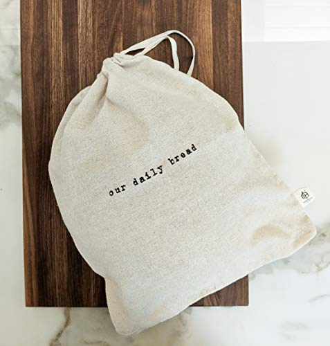 Montecito Home'Our Daily Bread' Set of 2 Natural Linen Bread Bags (1 Boule &1 Baguette), Reusable Drawstring Bag Homemade Bread Storage, Perfect for Bakers, House Warming