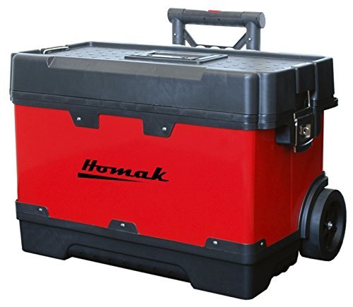 Homak 23-1/4-Inch Metal and Plastic Roll Away Toolbox with Retractable...