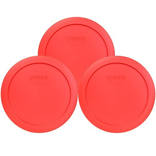 Pyrex 7201-PC Round 4 Cup Storage Lid for Glass Bowls (3, Red) by Pyrex