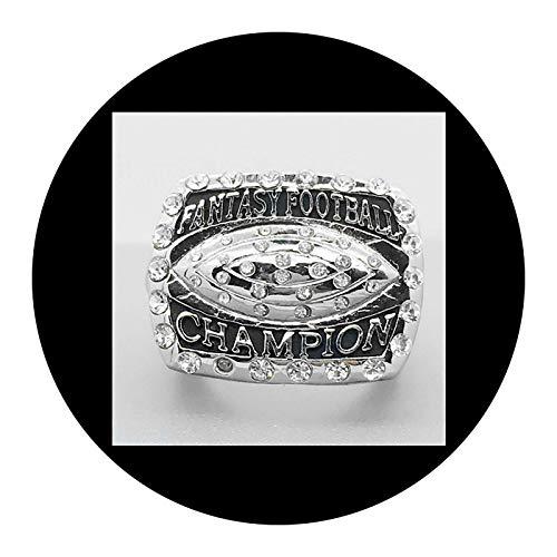 Anillos Masculinos con Encanto Simple Y Creativo, Réplica de Anillo Fantasy Football Champion 2016 - Acabado de Anillo Personalizado Premiado - Colección de Regalos Réplica de Fans con Vitrina 9#,