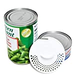 Gadjit Tuna Can Strainer (2 Pack) - Kitchen Utensil Easily Strains Liquids Out of Canned Fruits and Vegetables, Press Device into Open Can, Pour out Excess Fluid, Top-Rack Dishwasher Safe (White)