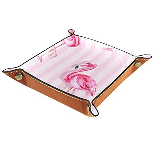 XiangHeFu Bandeja de Cuero Fashion Flamingo de Rayas Rosas Almacenamiento Bandeja Organizador Bandeja de Almacenamiento Multifunción de Piel para Relojes,Llaves,Teléfono,Monedas