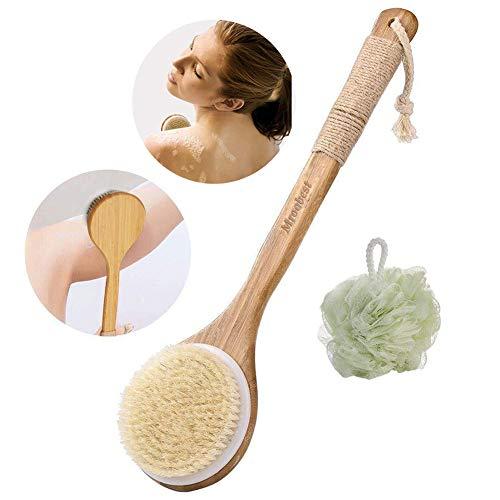 Brosse Pour Le Corps, Brosse de bain, Brosse et boule de douche 2 en 1 - Poils naturels - Améliore la circulation sanguine, réduit la cellulite, prend soin de la peau des femmes et des hommes