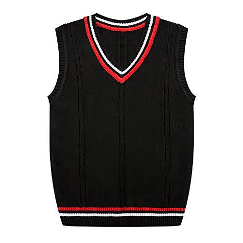 Autumn Winter New Men's Fine Pure Color Business Leisure Vest Sleeveless Sweater,Black,XL