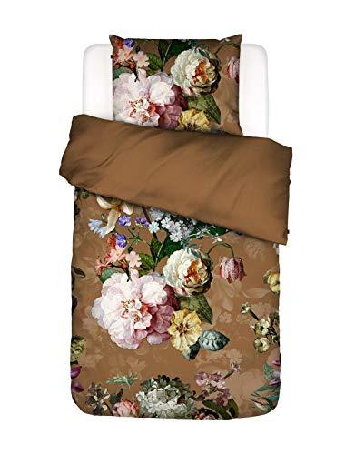 ESSENZA Bettwäsche Fleur Blumen Pfingstrosen Tulpen Baumwollsatin Braun, 135x200 + 1x 80x80 cm