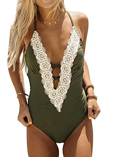 Cupshe Fashion Women s Ladies Vintage Lace Bikini Sets Beach Swimwear Bathing Suit M Green