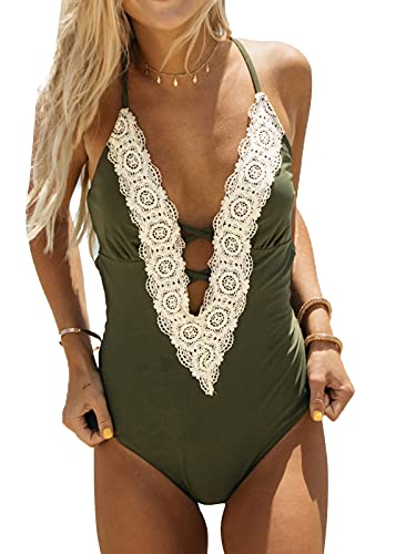 CUPSHE Women's One Piece Swimsuit Vintage Lace Strappy Beach Swimwear Cross Back Bathing Suit Swimming Costume Olive Green M