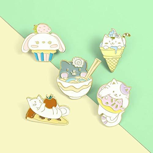 Katze und Futter Pin Pizza Eis Ramen Donuts Cupcake Broschen Tasche Revers Pin Cartoon Abzeichen Schmuck Geschenk für Kinder Freunde