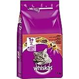 Whiskas Katzenfutter Trockenfutter Adult 1+ mit Rind, 6 Beutel (6 x 1,9kg)