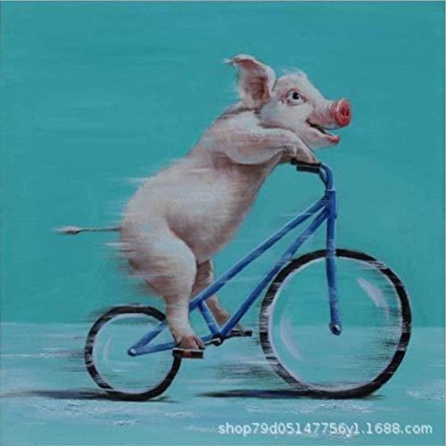 YGRHHP Kit de inicio para adultos 11CT 14CT - Bicicleta y Peppa Pig - DIY animal regalo bordado niños adultos decoración del hogar principiantes