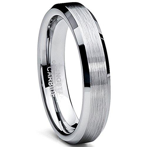 Ultimate Metals Co. 4MM Unisex Wolframcarbid Gebürstet Ehering,Jubiläumsring,Bequemlichkeit Passen,Größe 60.5