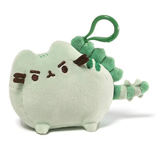 "GUND Pusheen Pusheenosaurus Dinosaur Cat Plush Stuffed Animal Backpack Clip, Green, 4.5"""