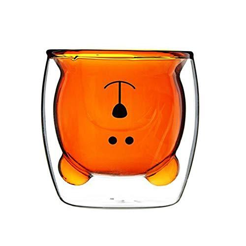 Fiaoen Bear - Taza de cristal de borosilicato de doble capa con aislamiento de doble pared, cristal térmico, resistente al calor