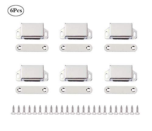 Concisea 6 Sätze Edelstahl Schrank Magnet Magnetverschluss für Möbel Schranktür mit 24x Schraube