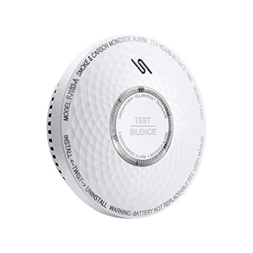 Ecoey Carbon Monoxide Detector and Smoke Alarm with 10 Year Battery, Dual Sensor Smoke CO Combo Alarm with Silence Function,FJ183-A,1 Pack