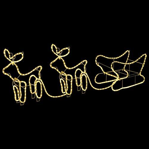 vidaXL Renne e Slitta Decorazione Natalizia per Esterni 576 LED Addobbi di Natale da Giardino con Lampade Decorazioni Festive Luminose