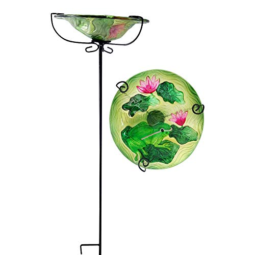 Comfy Hour Bird Meets Garden Bath Collection 28' Frog Lotus Glass Top Birdbath Birdfeeder Metal Art Garden Stake