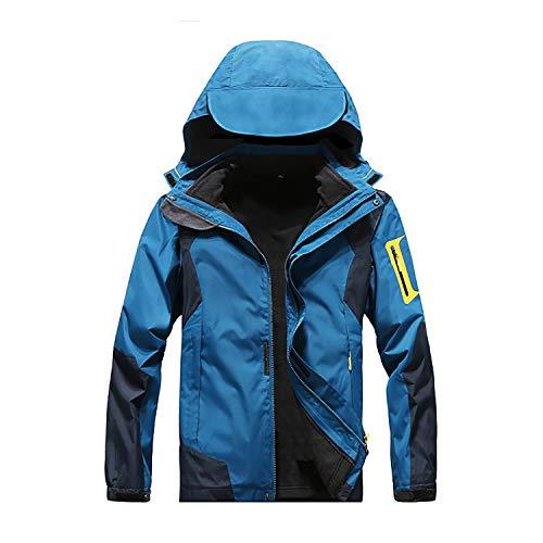 Men's Windproof And Waterproof Jacket Two Piece Warm Outdoor Ski Wear Detachable Jacket (Blue, 4X-Large)